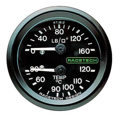 PT1612 Racetech 機械式 油圧 温度 コンビメーター